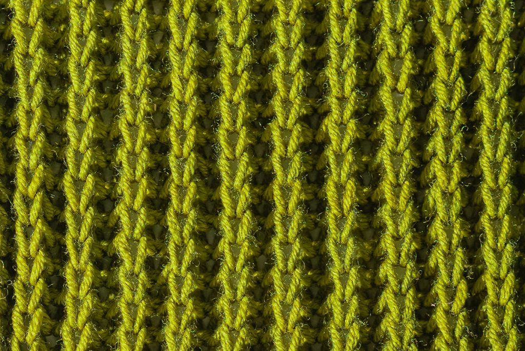 A brioche stitch knitting sample pattern