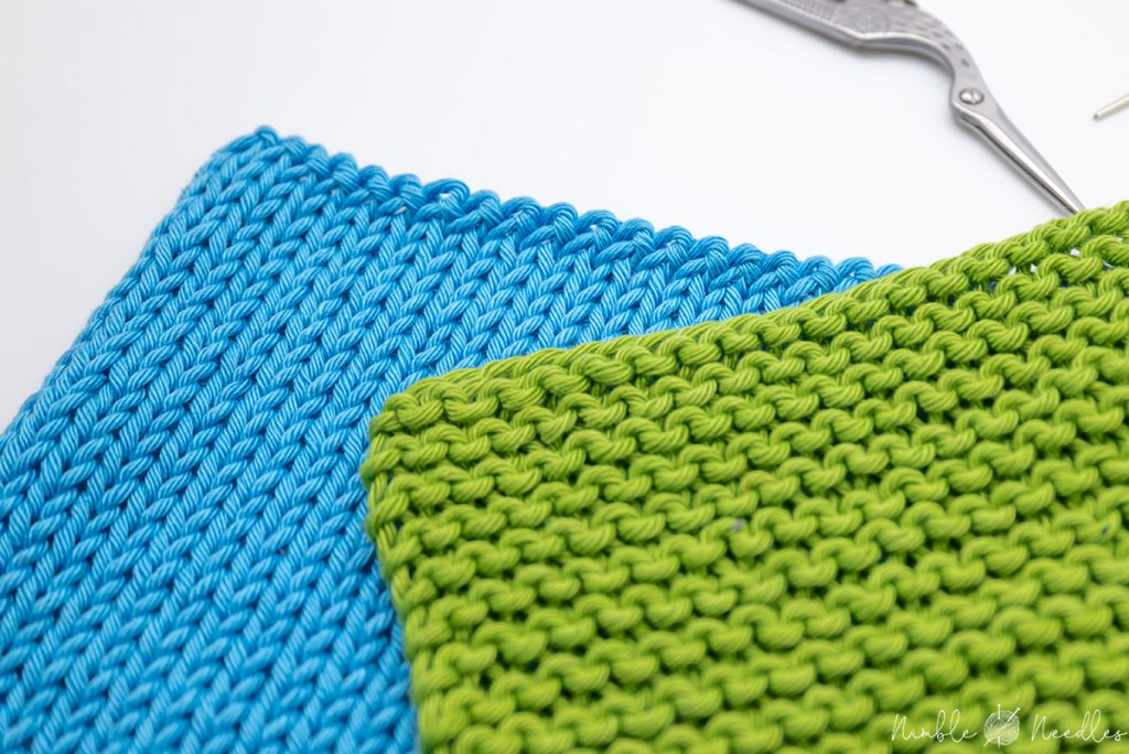 Cast off stitches for beginners - two samples in stockinette and garter stitch
