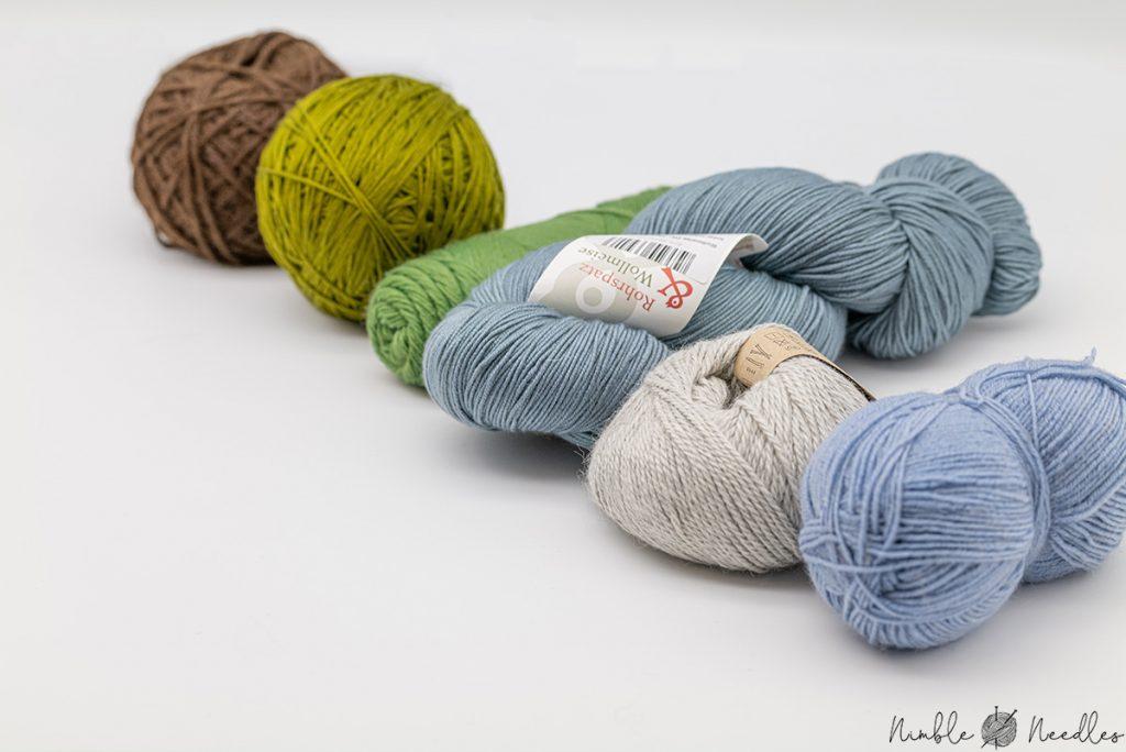 different yarn balls, skeins, and hanks
