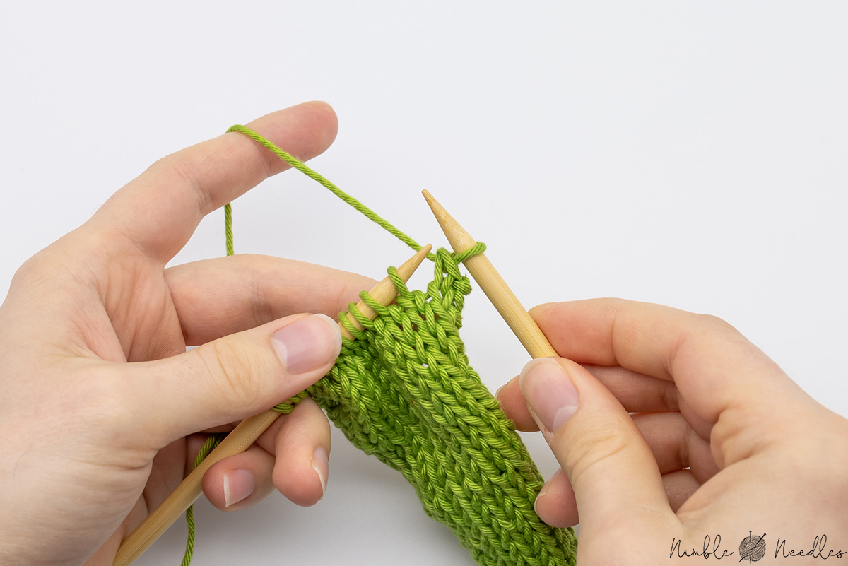 The first cast off stitch on the right needle