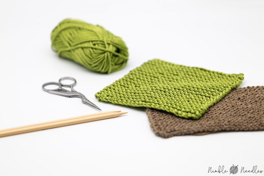 how to knit garter stitch - two sample swatches in green and brown close up