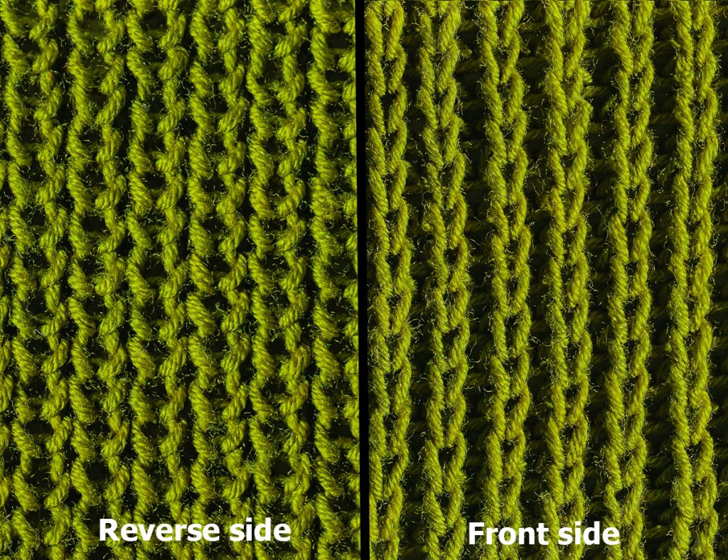 Right and wrong side of a half brioche stitch knitting work