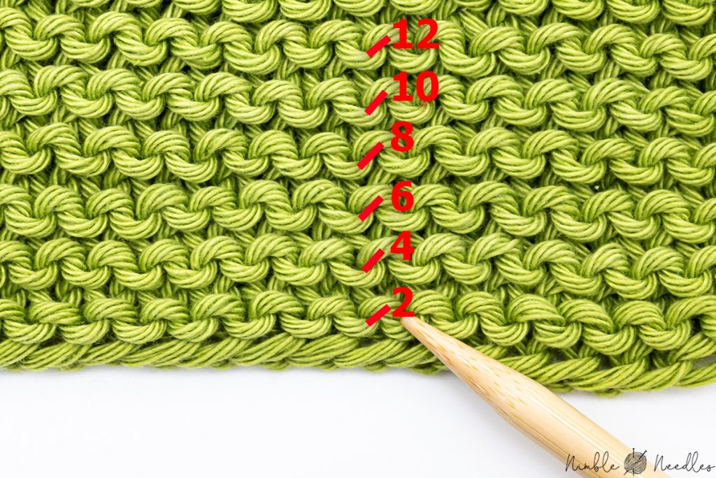 illustration showing you how to count garter stitch rows