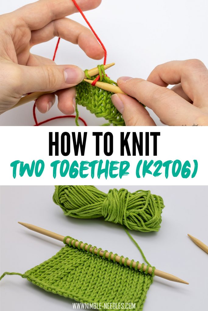 How to knit 2 together (k2tog)