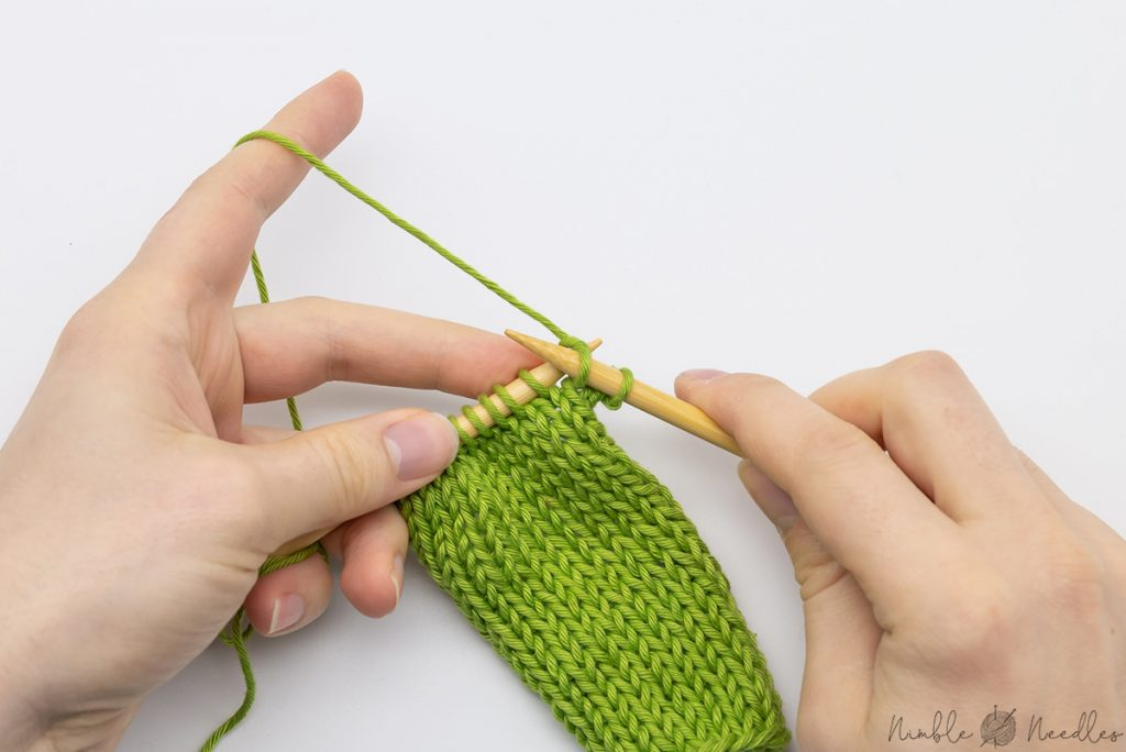 knit the first two stitches as you would knit normally
