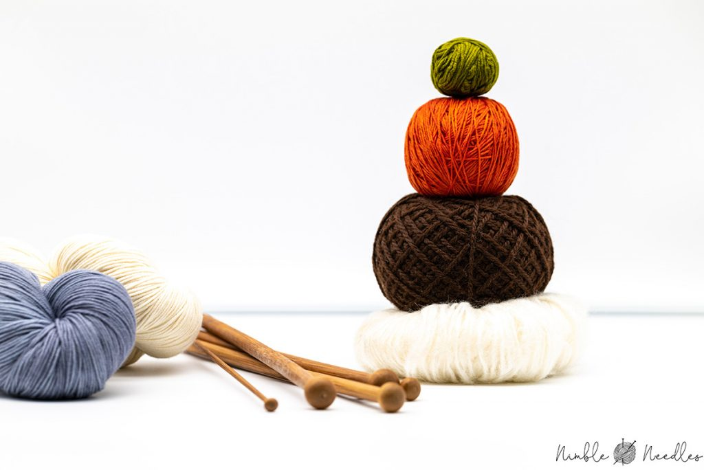 A couple of different knitting yarns for beginners in wool and alpaca
