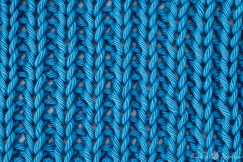 a 1x1 rib stitch knitting pattern swatch