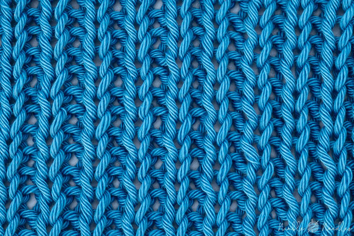 a 1x1 rib stitch knitting pattern swatch