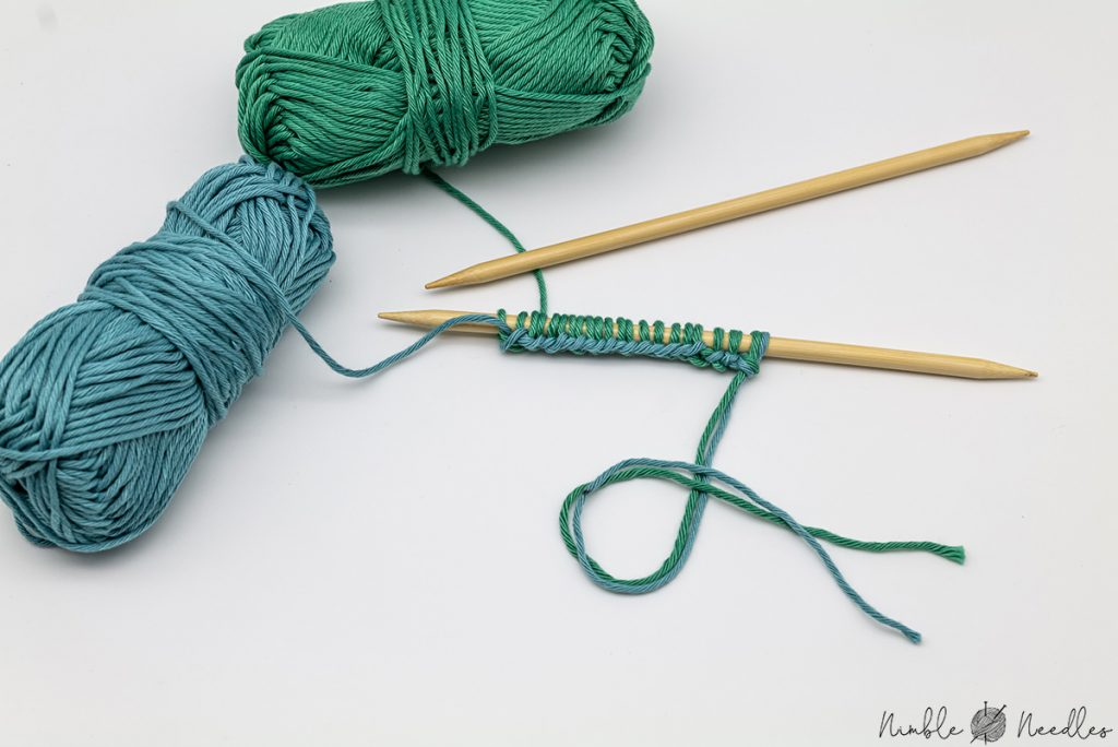 Using the double stranded long tail cast on so you don't need to guess how much yarn you will need