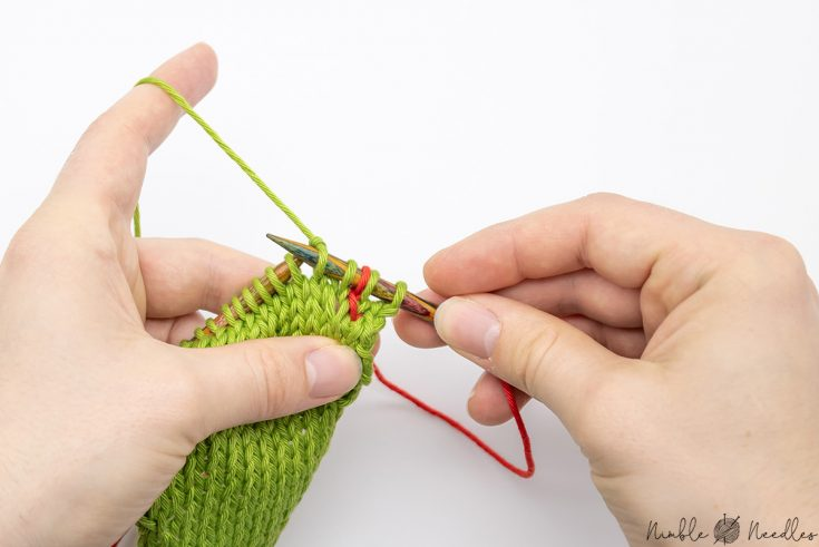 this is how the kll increase will look on your needle after you knit it