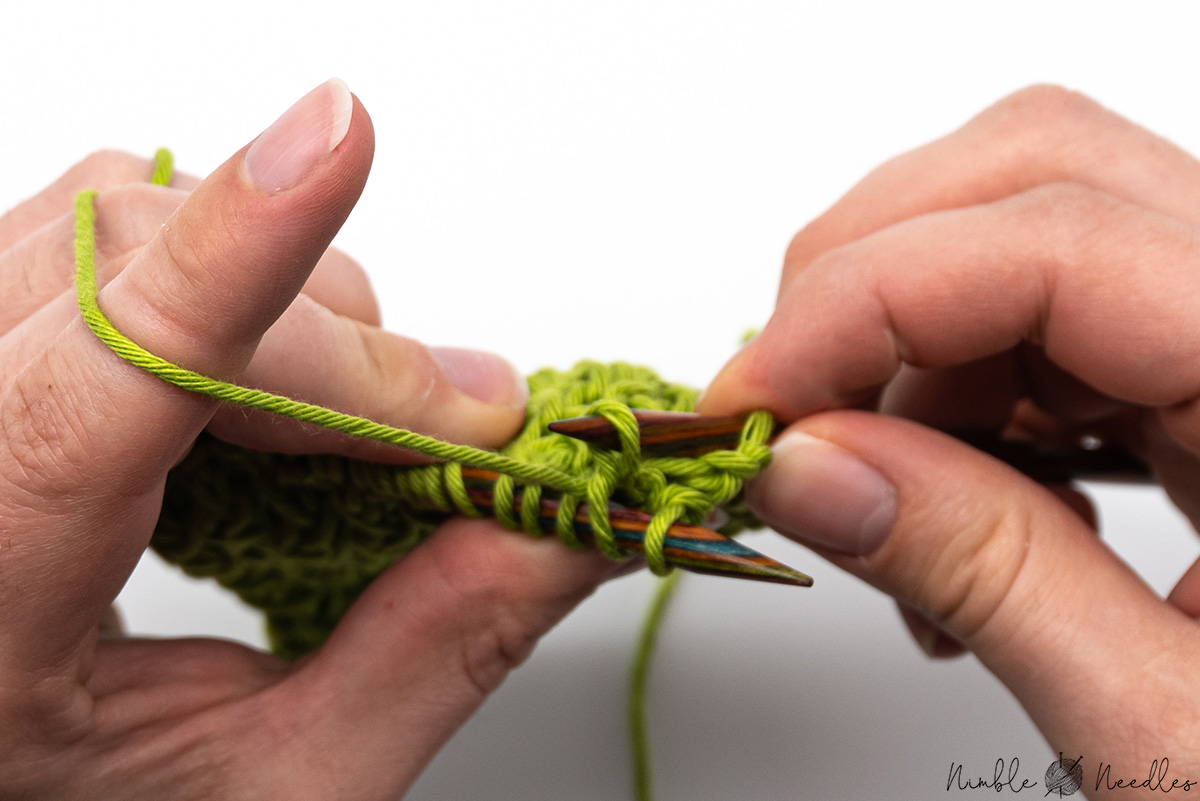 kniting thesecond stitch through the back loop for the zigzag rib stitch