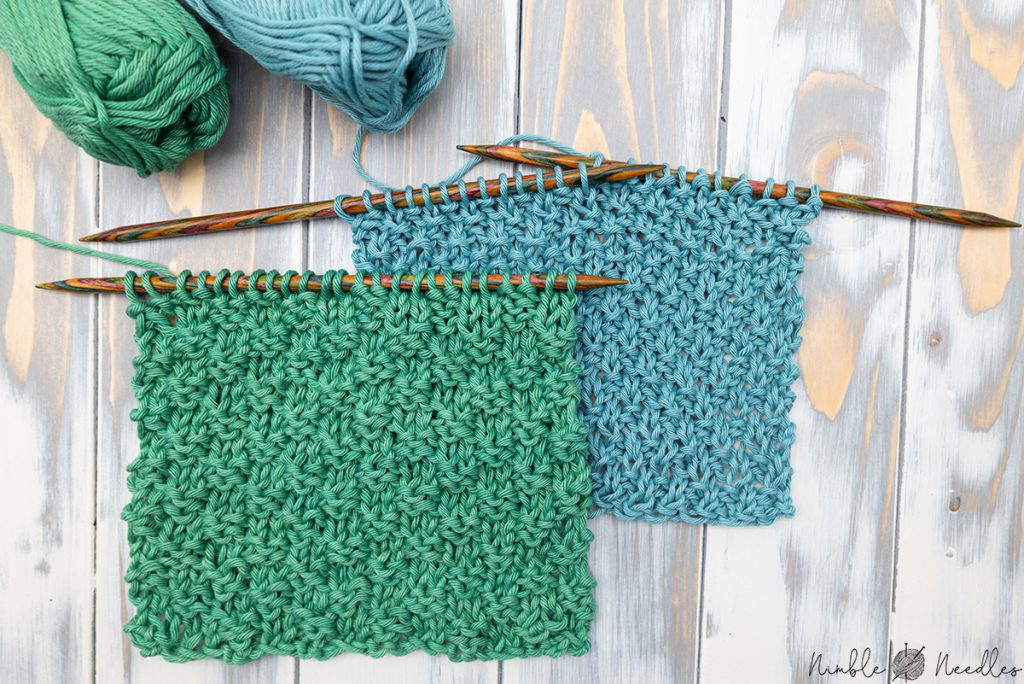 two swatches showing the differences between the double moss stitch and the regular moss stitchss stitch