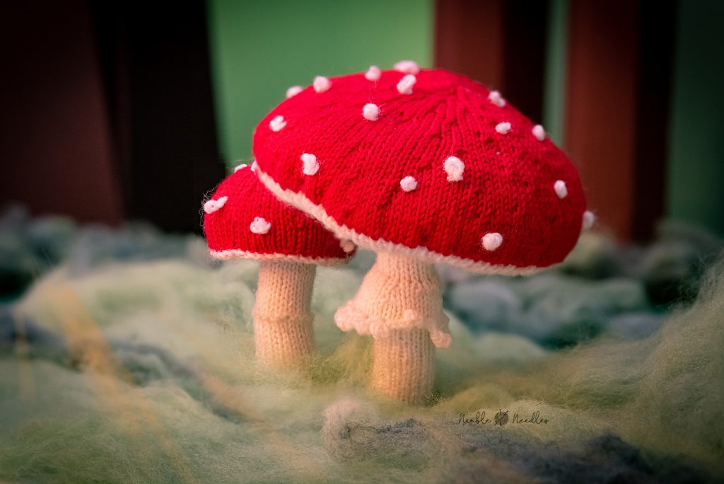 A toadstool knitting pattern for advanced knitters