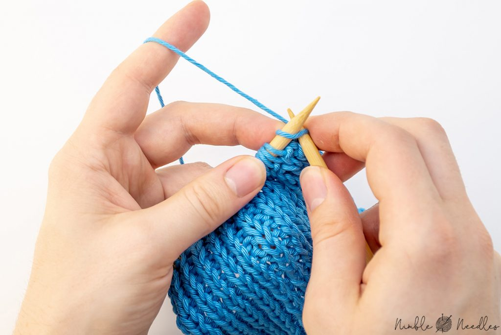 Knit 1 one stitch for the 1x1 ribbing