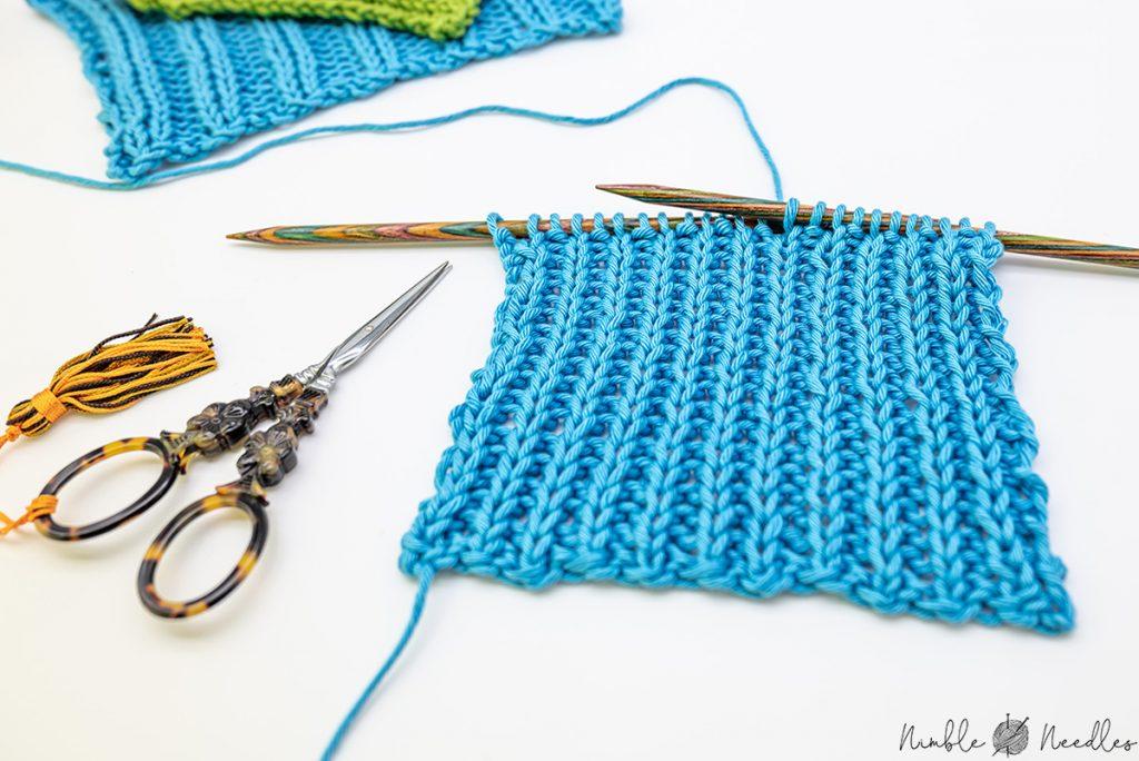 Knitting a swatch in 1x1 rib stitch