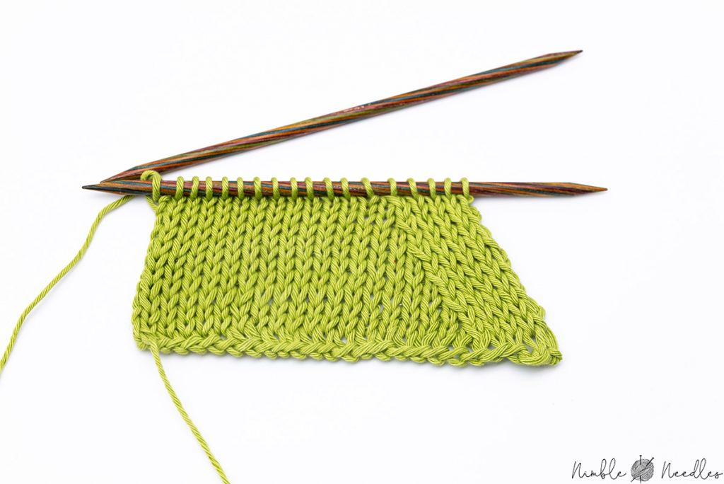 SSK Knitting sample swatch. You can see clearly how this increase is right-leaning