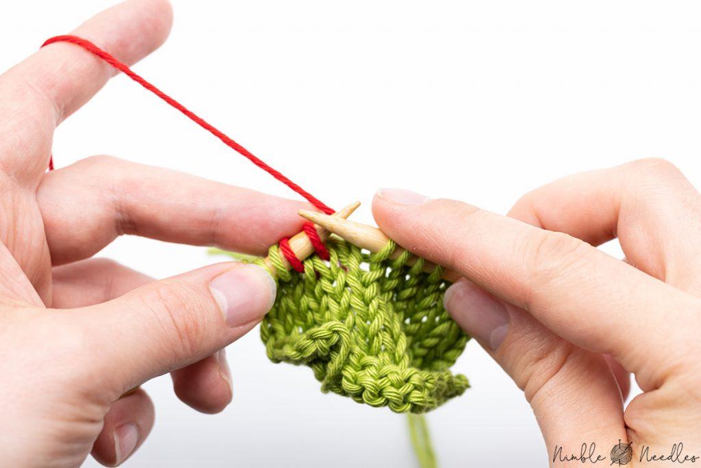 Two knit stitches on the left needle