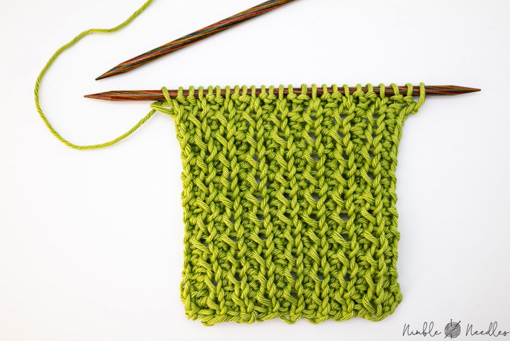 The wrong side of a zig zag rib stitch