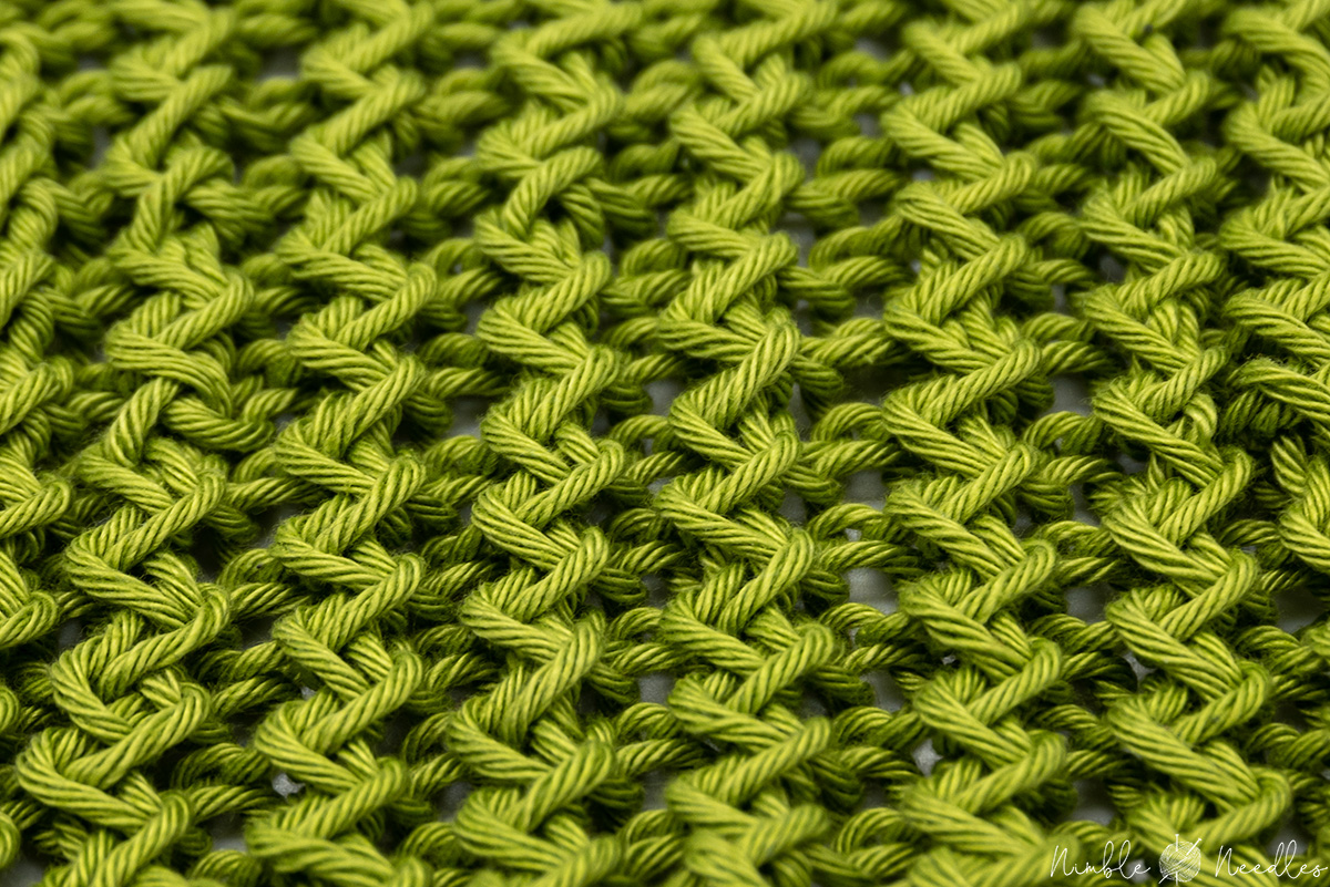 A close-up of a swatch in the zigzag rib stitch