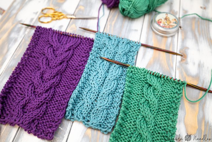 three swatches with three different cable stitches