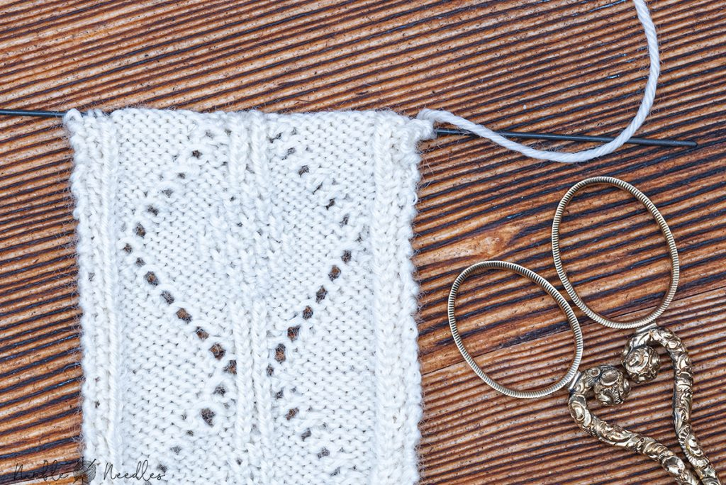 close-up of the bookmark on the 1.00 mm knitting needles