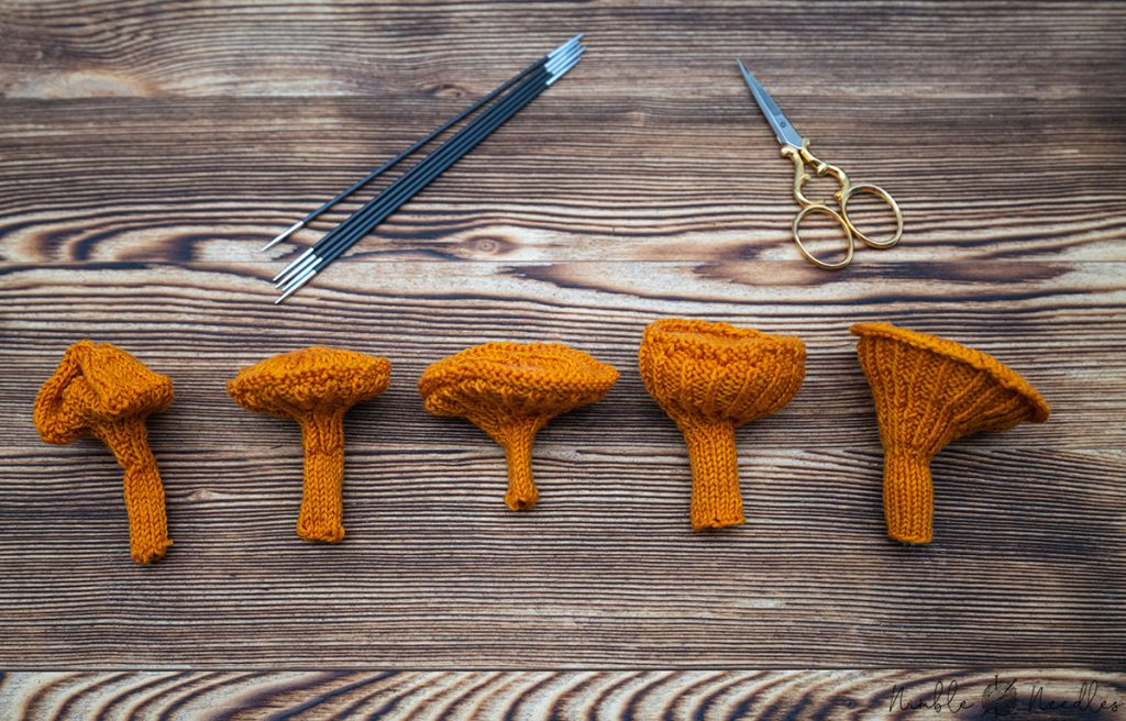 5 stages until I finally came up with the chanterelle knitting pattern
