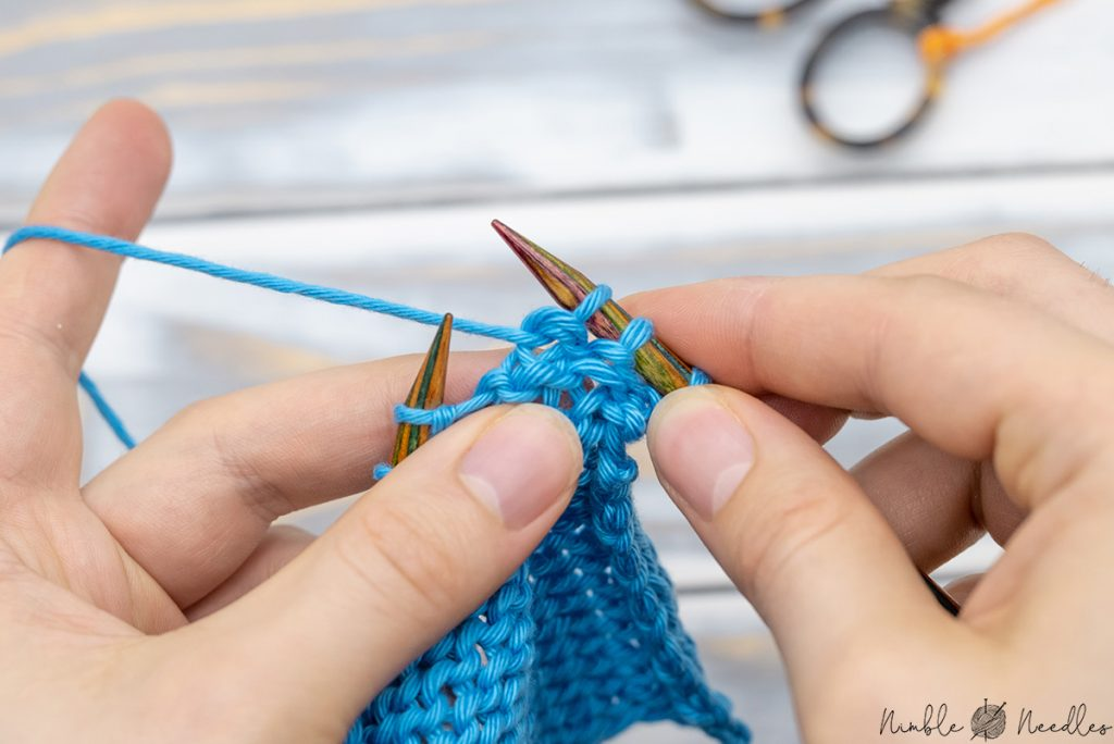 A p2tog tbl stitch on the right needle