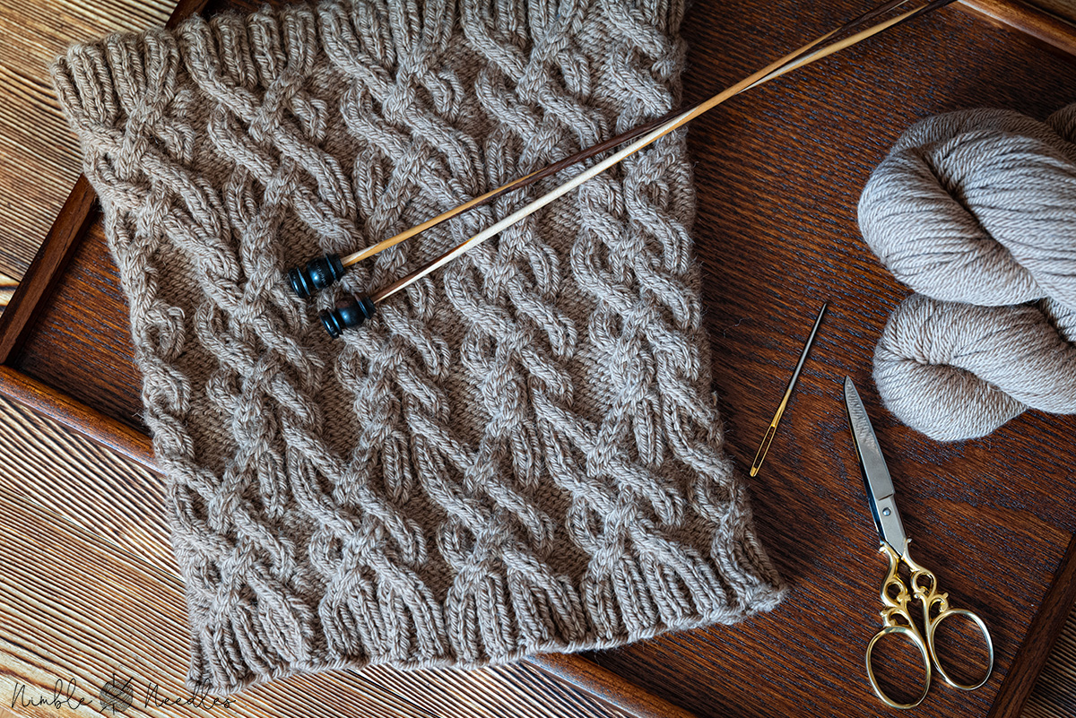 The into the desert cable cowl knitting pattern