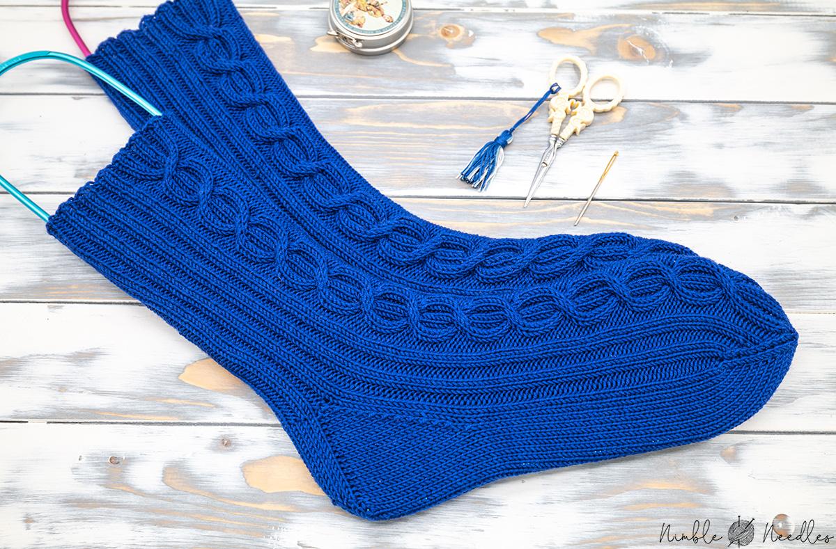 men's sock knitting pattern close-up