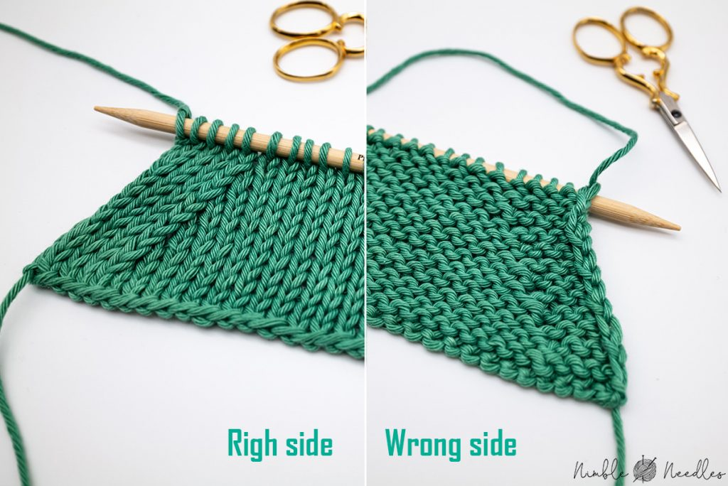 Purl two together increase on the wrong and on the right side