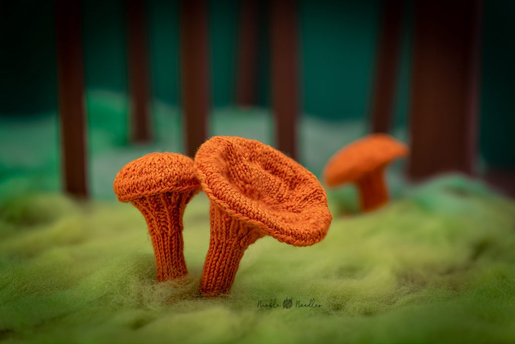 Two knitted chanterelle mushrooms