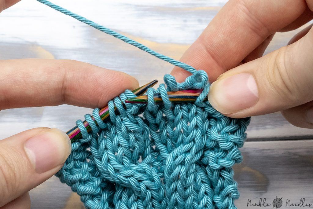Right cable cross without Cable needle - dropping two stitches in the back