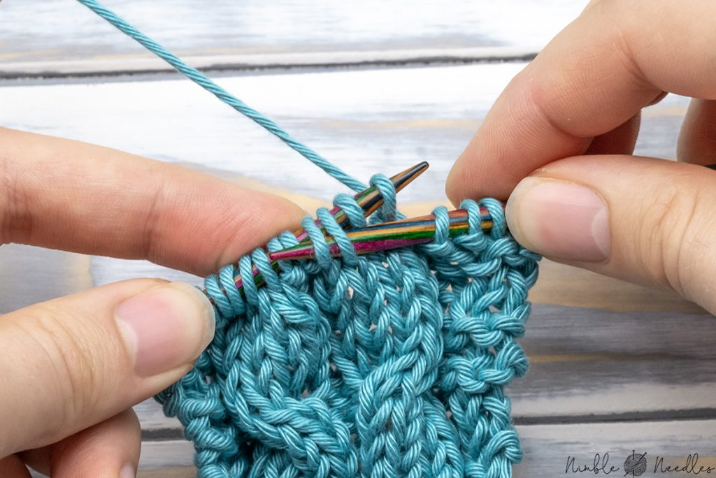 Right cable cross without Cable needle - inserting the left needle into the third and fourth stitch on the left needle in back