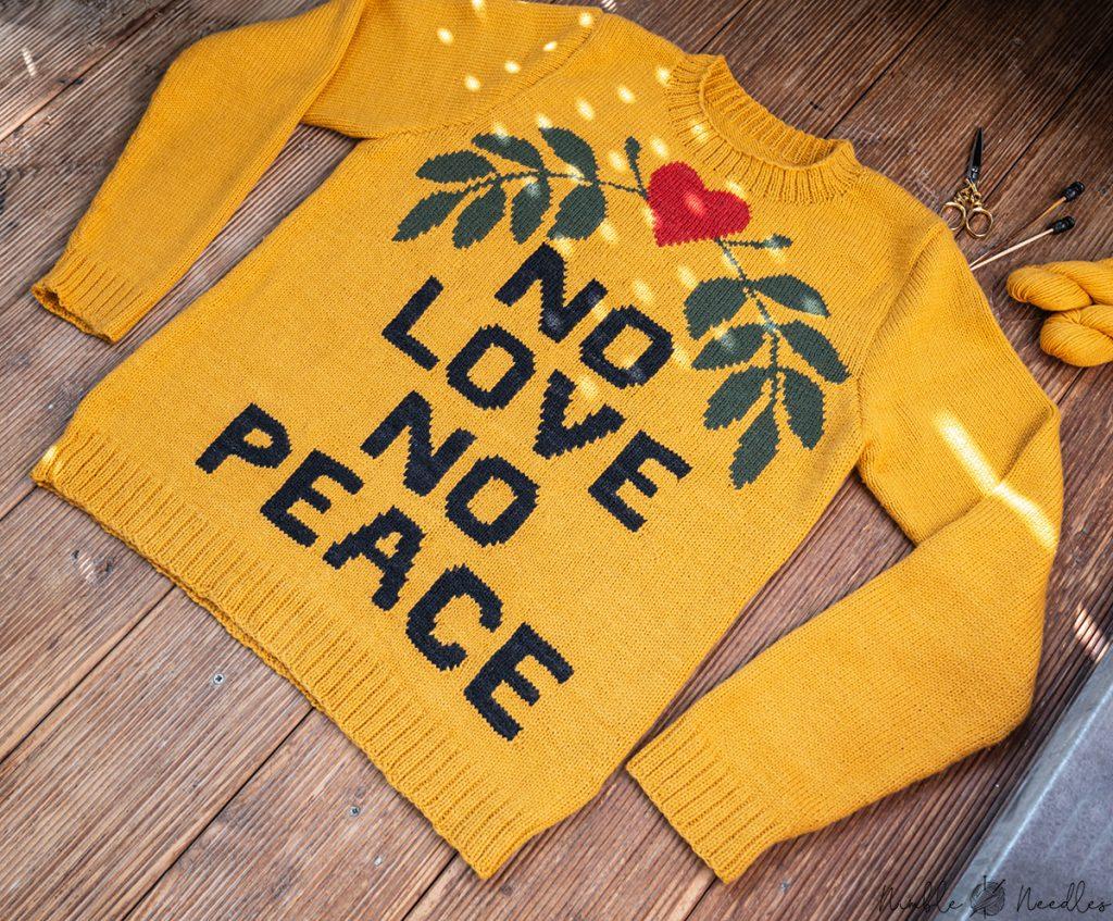 close-up of my intarsia sweater knitting pattern
