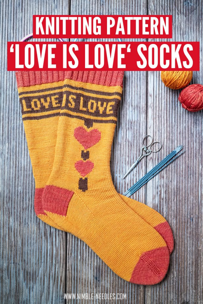 Pinterest pin for my love is love sock knitting pattern