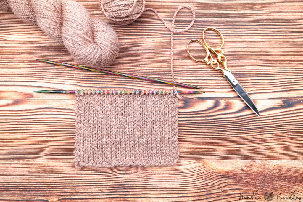A swatch knit in stockinette stitch using camel hair yarn