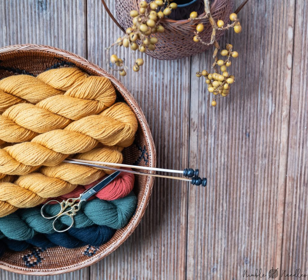 a couple of skeins of yarn for knitting a blanket