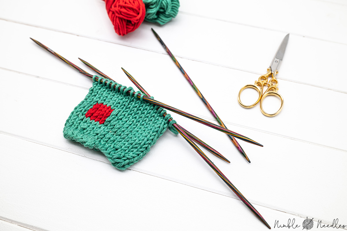 a swatch knitted in intarsia in the round