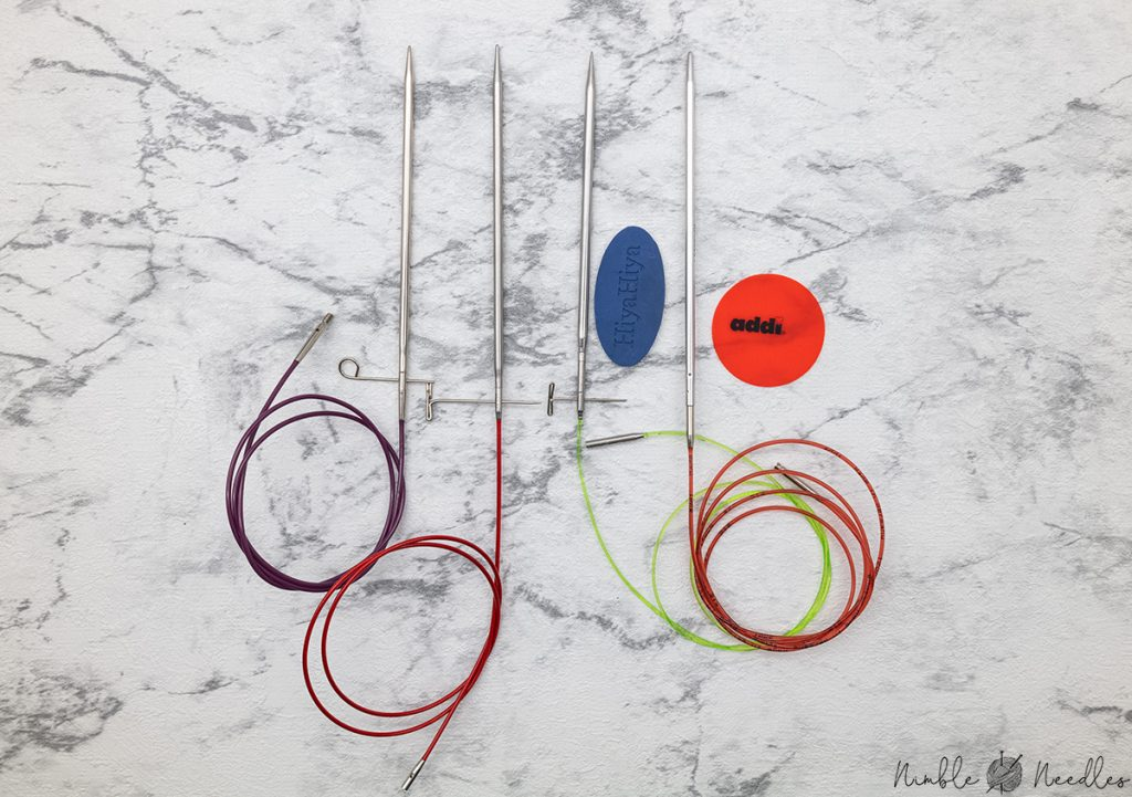 four different interchangable needle set system - knitter's pride, hiyahiya, chiaogoo, addi
