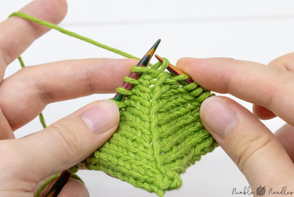 Start by knitting a KRL (Knit right loop) into the left loop