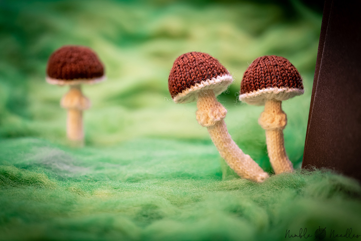 Cute little knitted mushrooms in a fake forest made of cardboard