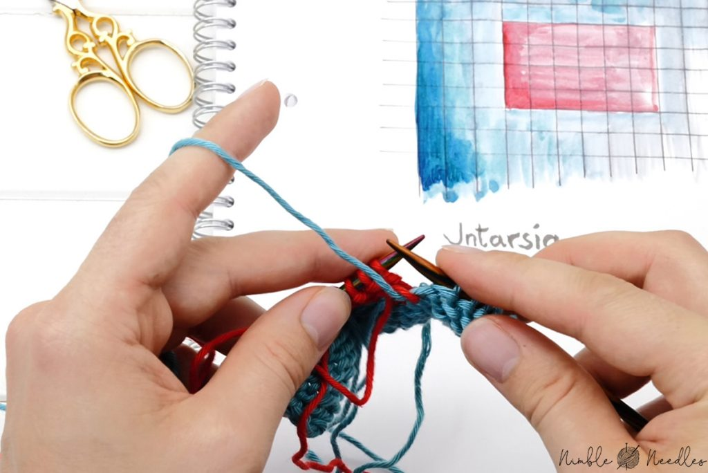 weaving out the tails in intarsia knitting