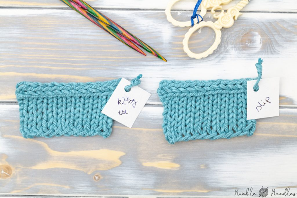two swatches with an icord bind off next to each other: k2tog and the slipped version on the right