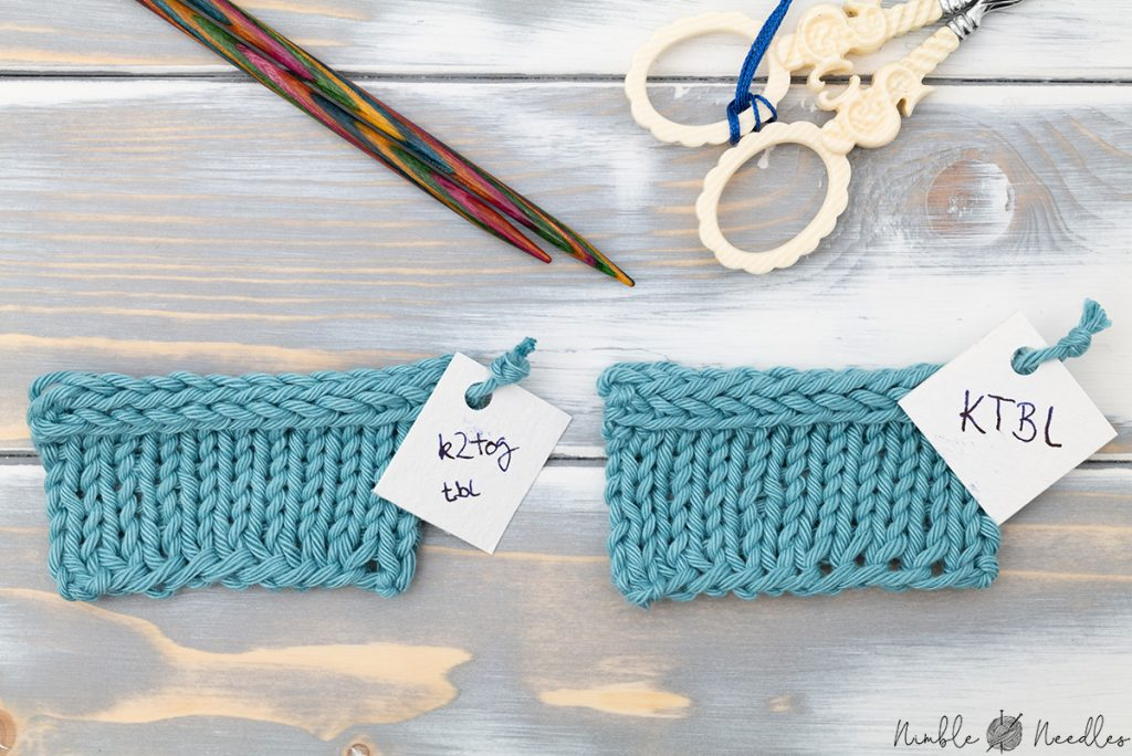 icord swatches with and without knit through the back loop stitches