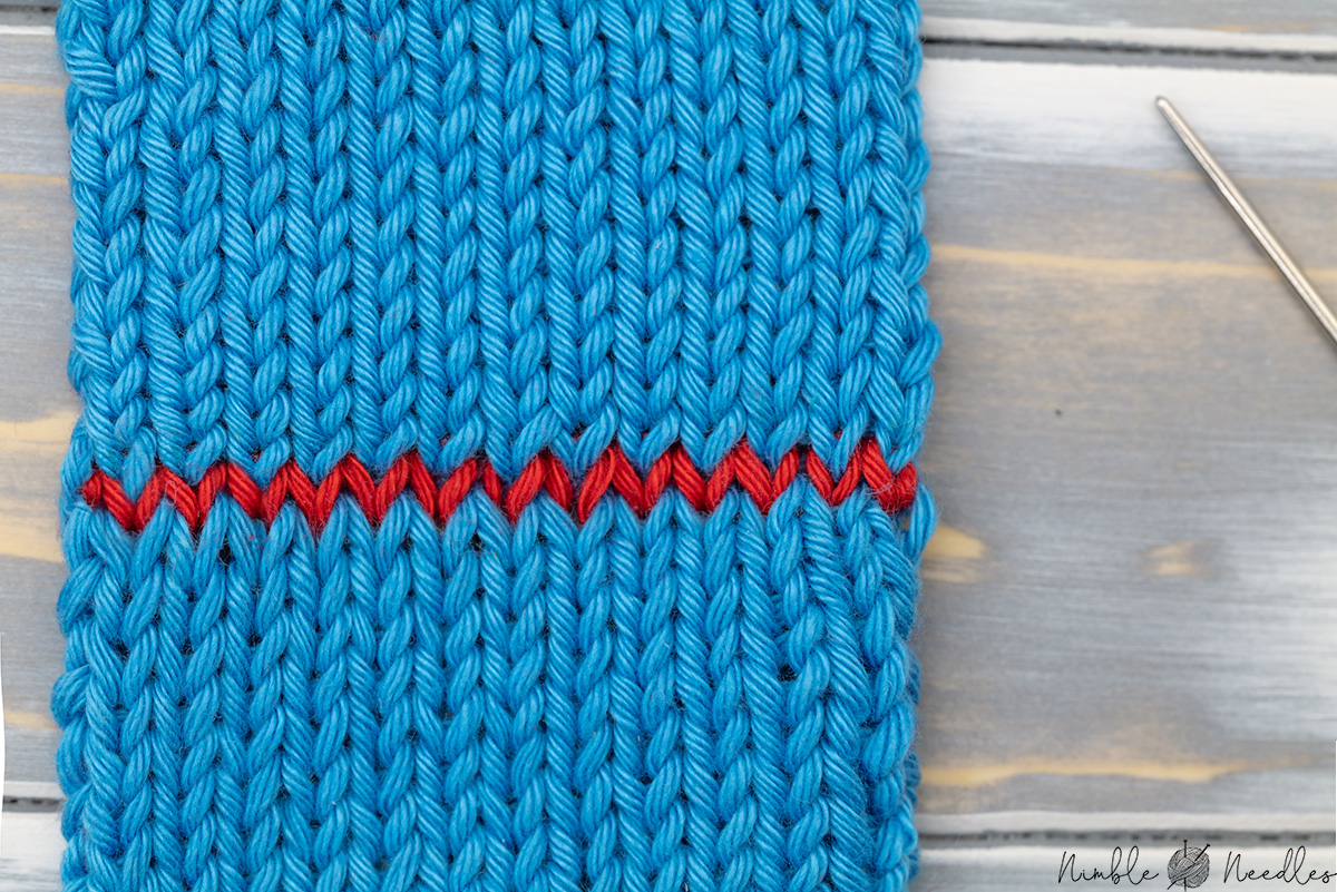 a close-up of a swatch grafted together with the kitchener stitch