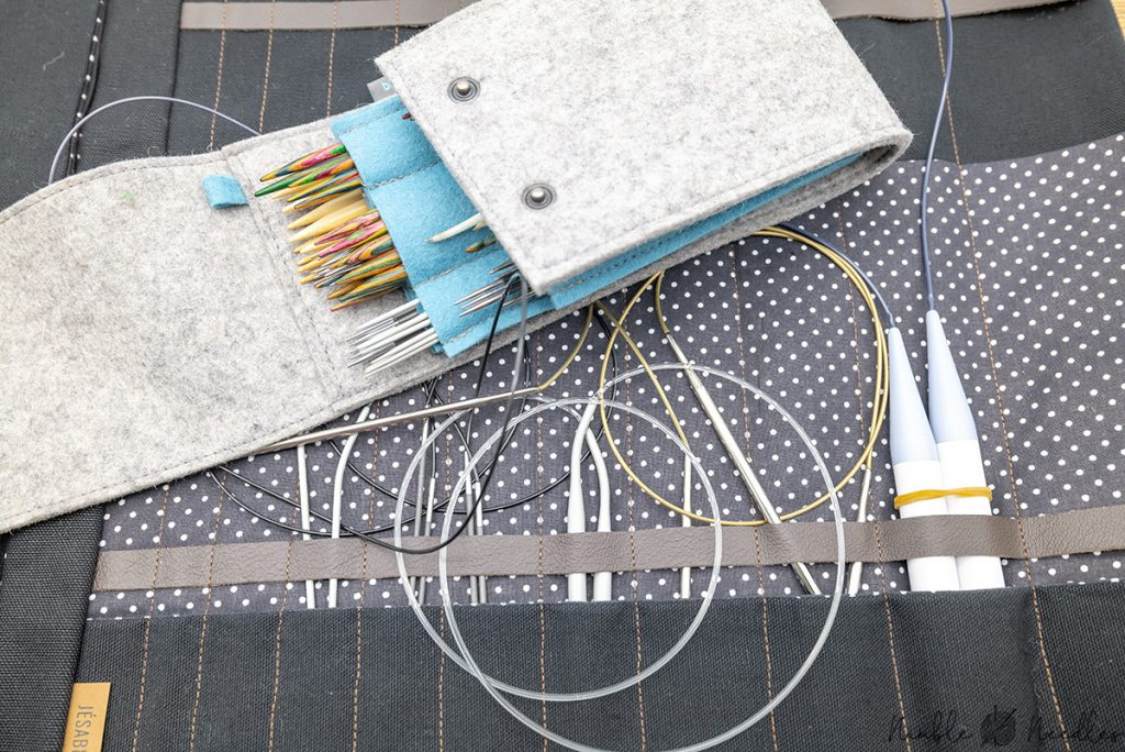 different needle cases for circular and double-pointed knitting needles