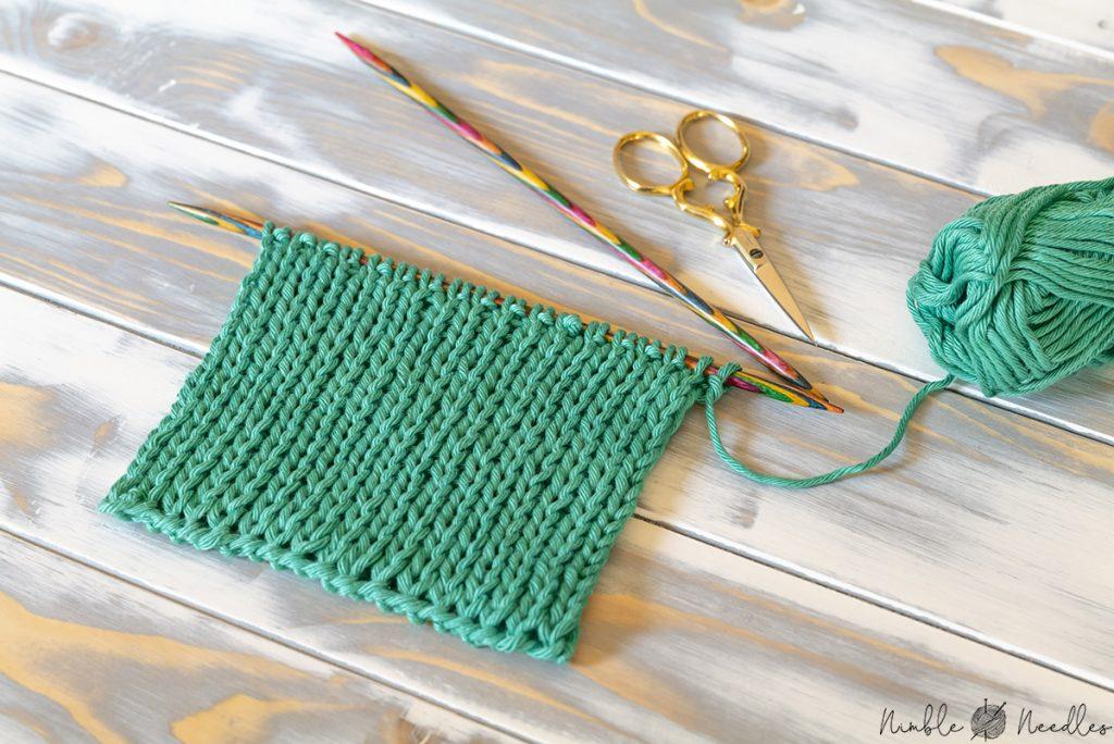 a double stockinette stitch swatch