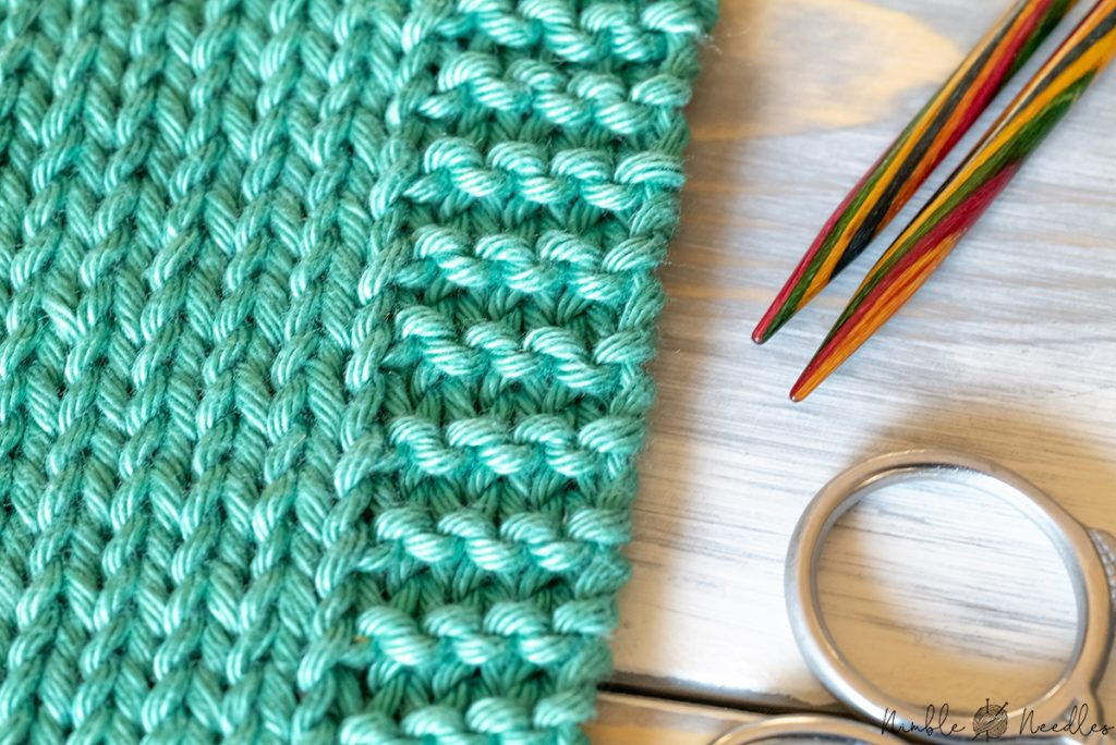 close-up of a simple garter stitch edge to stop curling