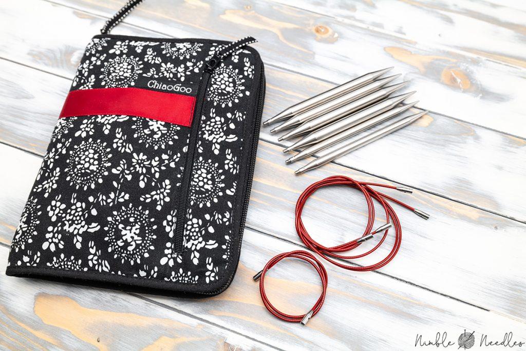 chiaogoo red twist interchangeable knitting needles set