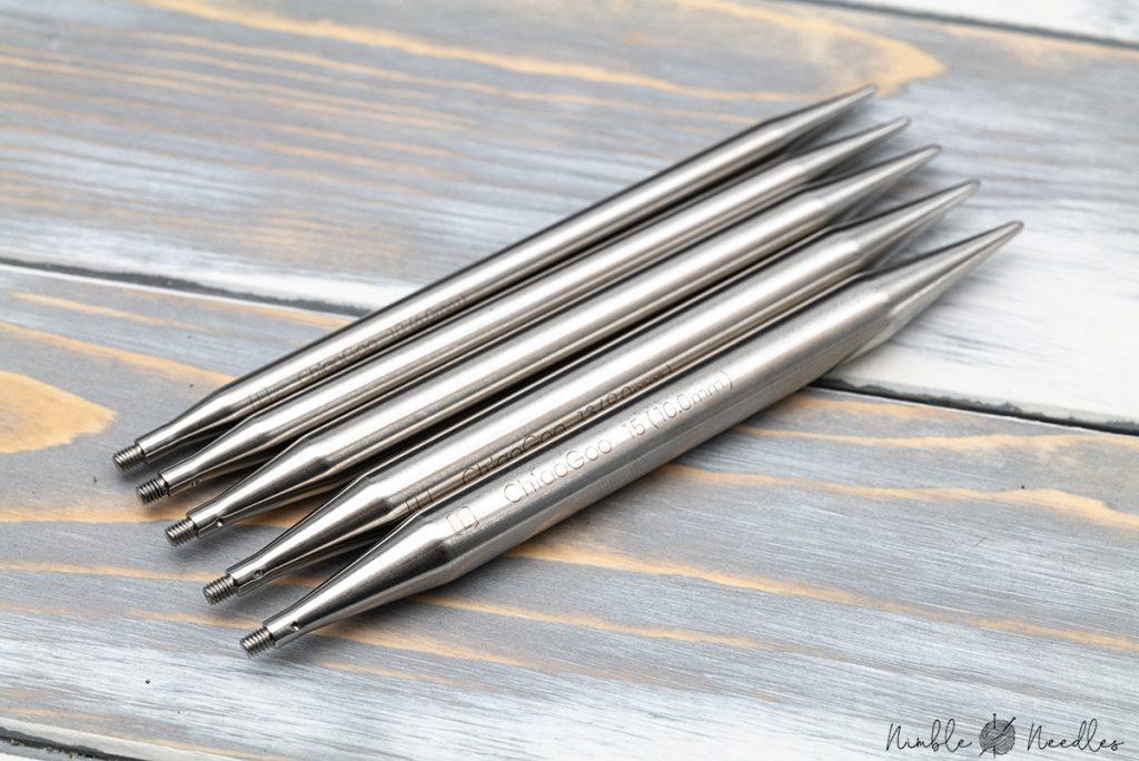 chiaogoo interchangeable knitting needles close up
